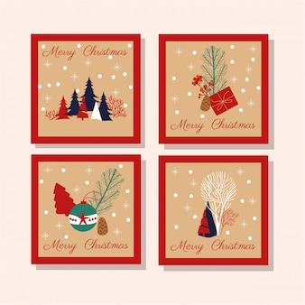 ハッピーメリークリスマスカードの束