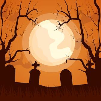 ハロウィーン暗い墓地アイコン