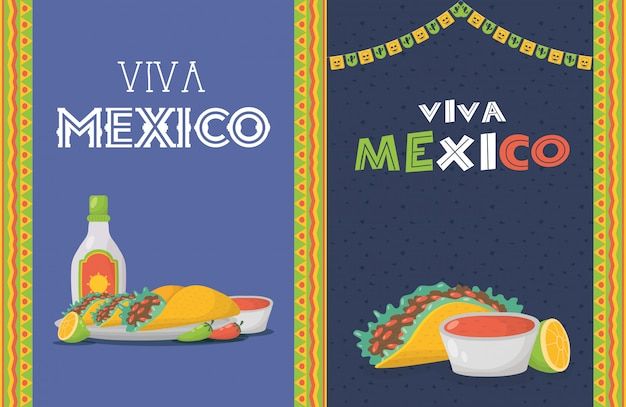 食べ物とテキーラのボトルとビバメキシコのお祝い