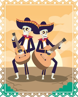 Диа-де-лос-муэртос карта с черепами мариачи, играющими на гитарах