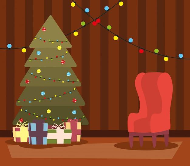 Счастливого рождества гостиная с елкой и подарками