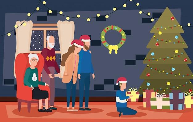 Члены семьи празднуют рождество с сосной