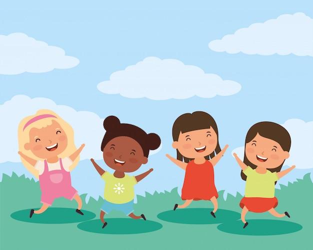 小さな異人種間の女の子キャラクターのグループ