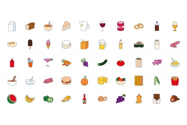 食べ物や飲み物のアイコンの束