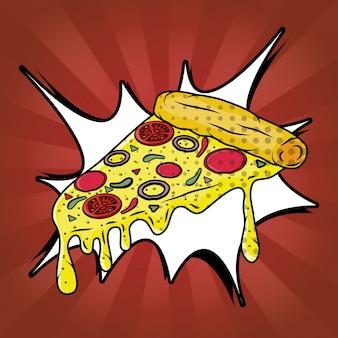 Пицца фаст фуд в стиле поп арт