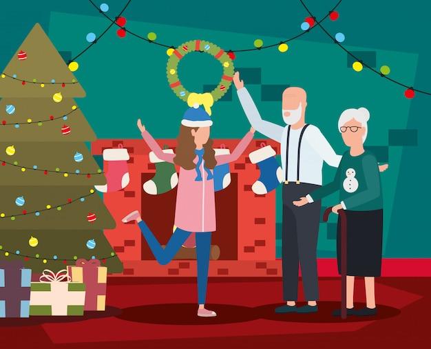 Бабушка и дедушка с внучкой с рождественские украшения