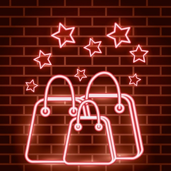 Неоновая подсветка этикетки с сумками