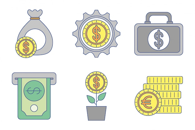 Набор иконок обмена денег