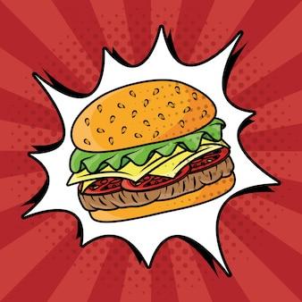 Гамбургер быстрого приготовления в стиле поп-арт