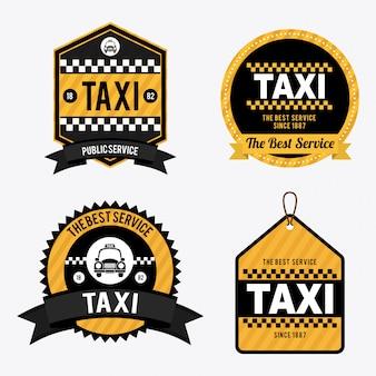 白のイラスト上のタクシー
