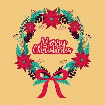 Веселая рождественская открытка с венком венец дизайн векторные иллюстрации