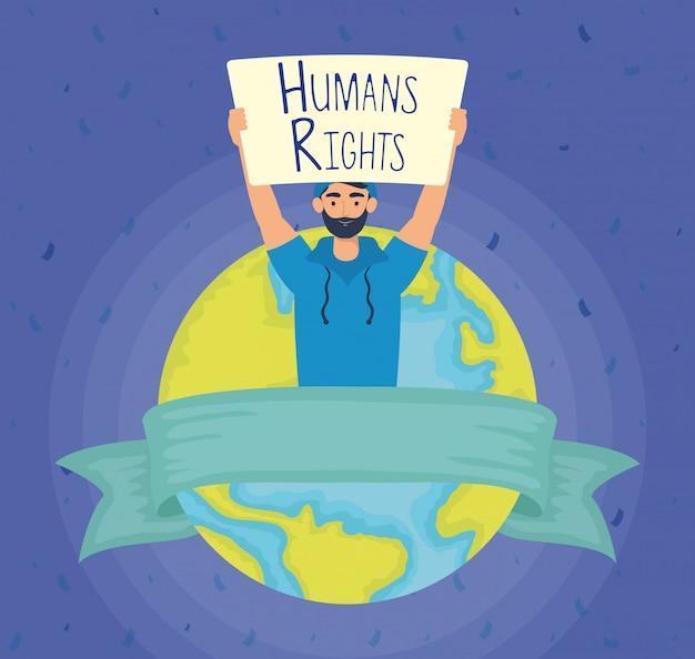 人権ラベルと世界の惑星ベクトルイラストデザインと若い男