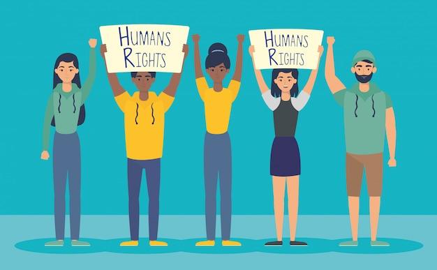 人権ラベルを持つ若い異人種間のベクトルイラストデザイン