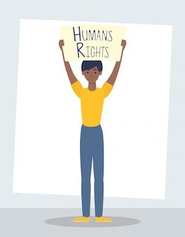 人権ラベル文字ベクトルイラストデザインを持つアフロの若い女性