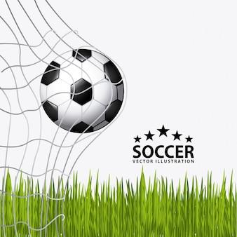 草でサッカーボール