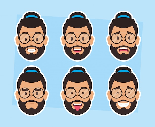 Группа мужчин лица бородатые с шляпой и очками