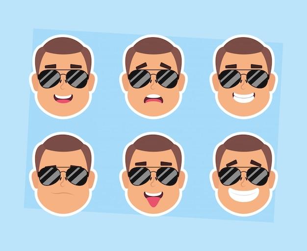 Группа мужчин лица с очками персонажей