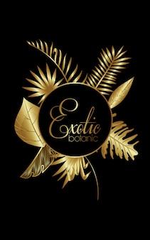 Роскошная экзотическая ботаника с золотой круглой рамкой
