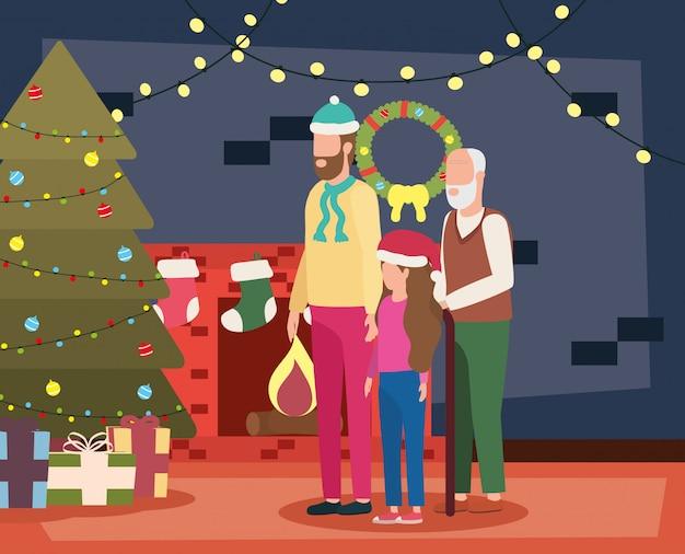 部屋のクリスマス装飾の息子と孫娘と祖父