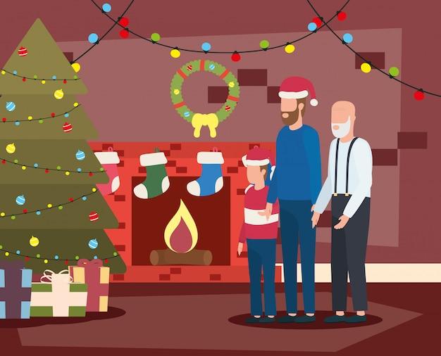 息子と孫の部屋にクリスマスの装飾が施された祖父