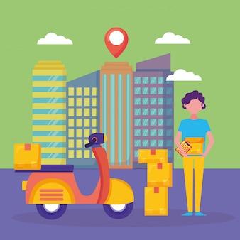 Служба логистической доставки с городским пейзажем и курьером