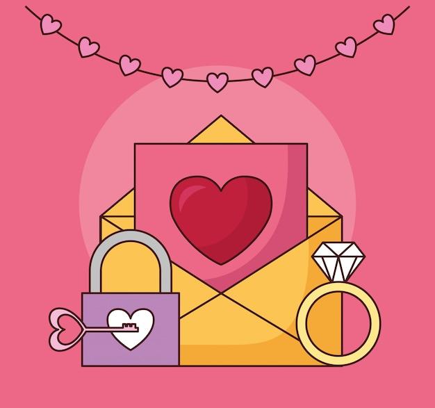 Празднование дня святого валентина с конвертом и сердцем