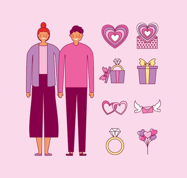 バレンタインの日のカップルのバンドルとアイコンを設定
