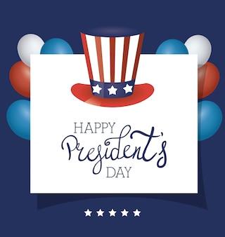 アメリカのトップハットとレタリングと大統領の日のポスター