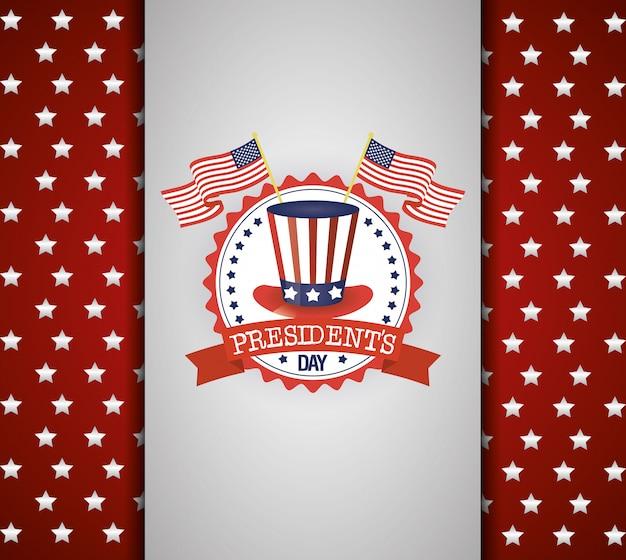 アメリカのトップハットとフラグと大統領の日のポスター