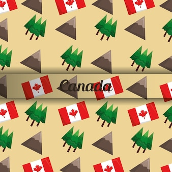カナダの山のピーク松の木と旗のバックラウンド