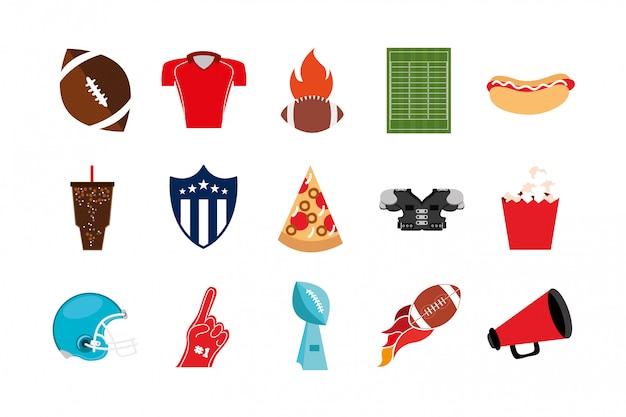 アメリカンフットボールスポーツアイコンのバンドル