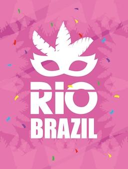 Бразильский карнавальный плакат с маской из перьев