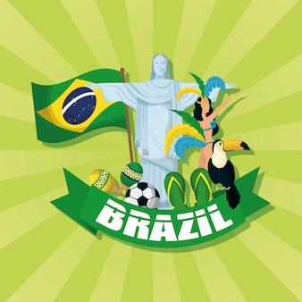 Бразилия карнавал иллюстрация с христовым корковадой