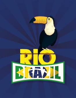 Бразильский карнавальный плакат с туканом экзотической птицей
