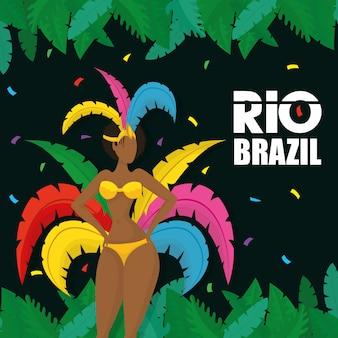 Бразилия карнавал иллюстрация с красивой афро гарота