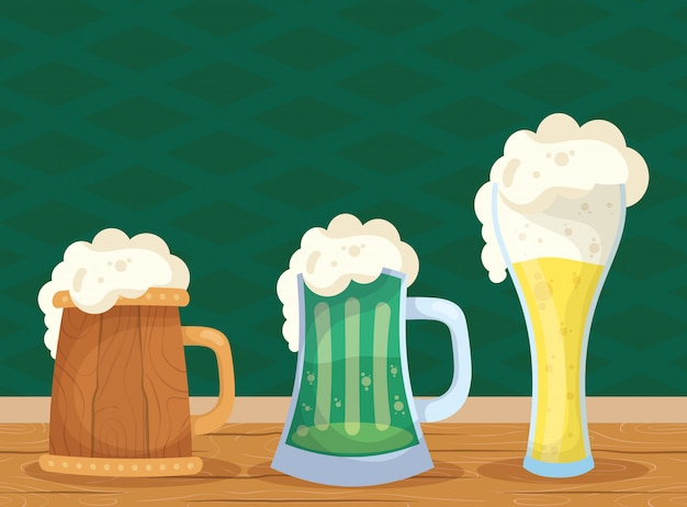 ビールの飲み物と幸せの聖パトリックの日イラスト