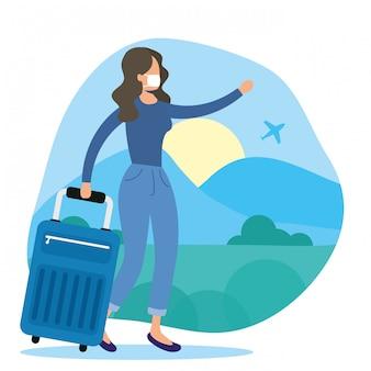 キャップとコロナウイルスの図から逃げるスーツケースを持つ女性