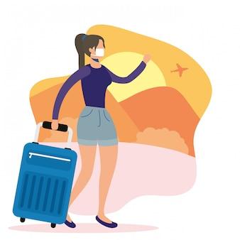 キャップとコロナウイルスから逃げるスーツケースを持つ女性
