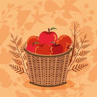 リンゴのアイコンが付いた秋のシーズンバスケット