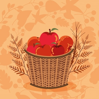 Осенняя корзина с иконками яблок