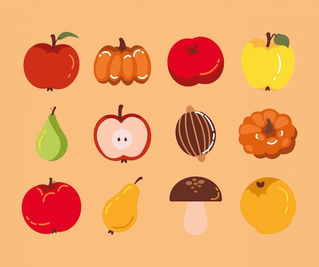 秋の季節のフルーツアイコンのバンドル