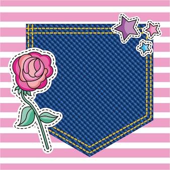 デニムのテクスチャの背景にポケット装飾花