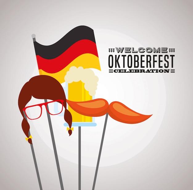 オクトーバーフェストのお祝いイラスト、ビール祭り