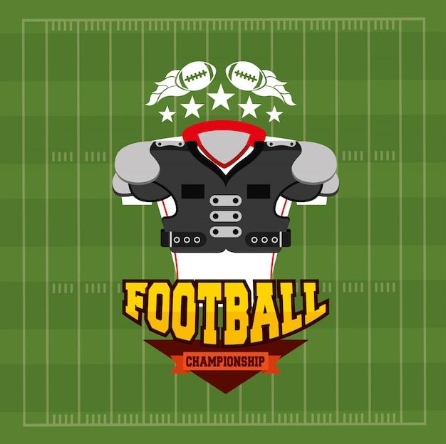 フロントシャツ装備のアメリカンフットボールスポーツイラスト