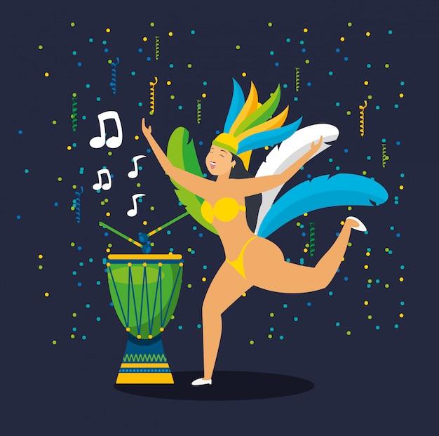 Бразильский гарота танцует карнавал характер иллюстрации