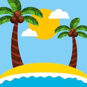 Канал бразильского праздника рио с иллюстрацией морской пейзаж пляж