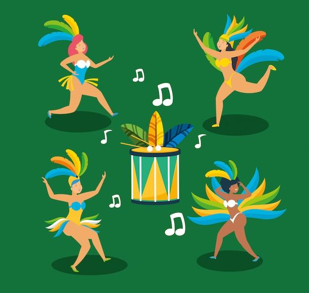 カーニバルキャラクターイラストを踊るブラジルのガロタ