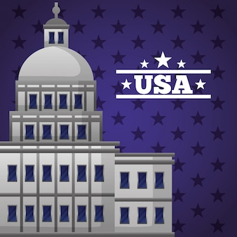 国会議事堂のファサードを持つ幸せな大統領の日イラスト