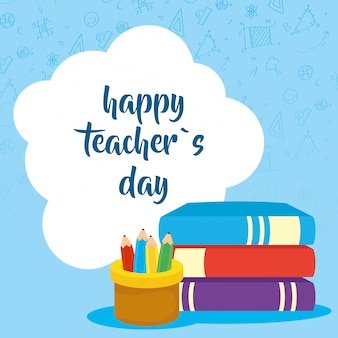 本と鉛筆ホルダーとの幸せな教師の日のお祝い