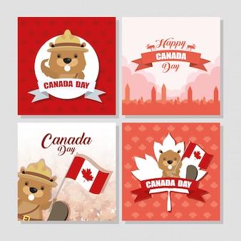 Счастливый день канады с кленовыми листьями и бобра